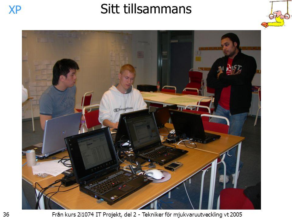 36 Från kurs 2i1074 IT Projekt, del 2 - Tekniker för mjukvaruutveckling vt 2005 Sitt tillsammans XP