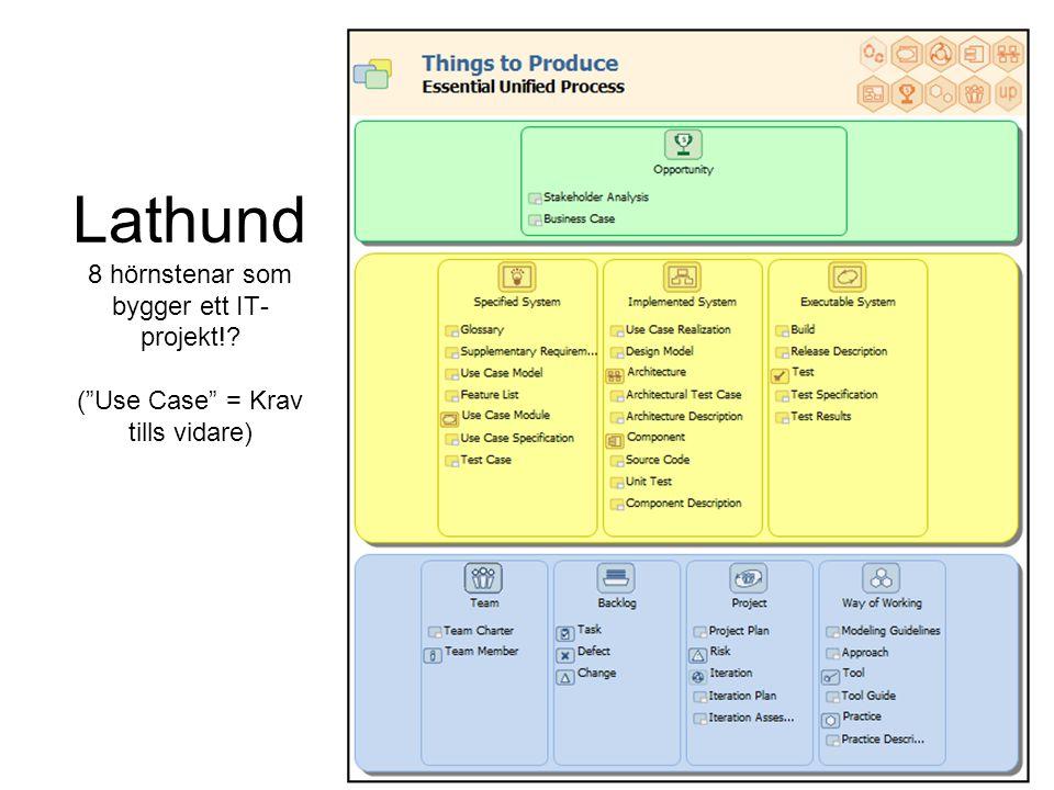 Lathund 8 hörnstenar som bygger ett IT- projekt!? ( Use Case = Krav tills vidare)