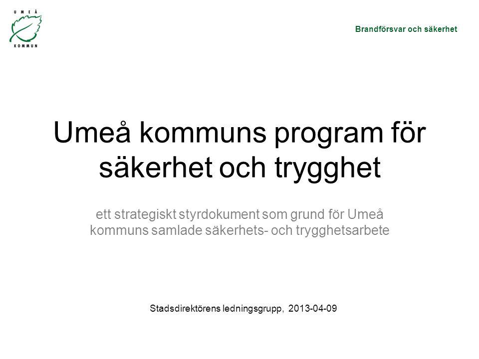 Brandförsvar och säkerhet Umeå kommuns program för säkerhet och trygghet ett strategiskt styrdokument som grund för Umeå kommuns samlade säkerhets- och trygghetsarbete Stadsdirektörens ledningsgrupp, 2013-04-09