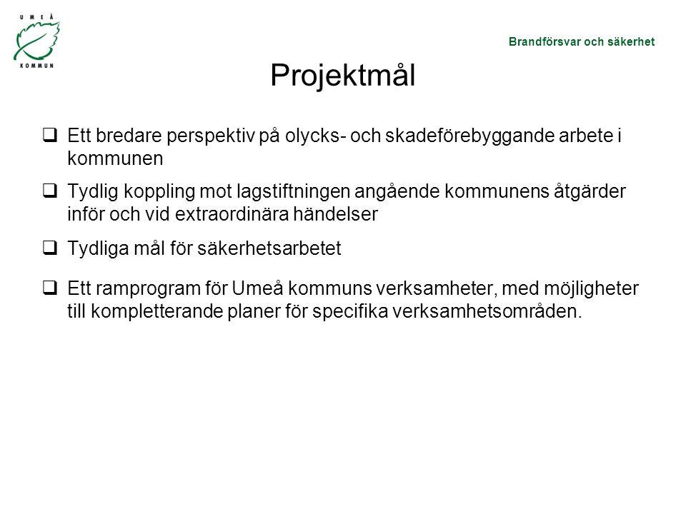 Brandförsvar och säkerhet Projektmål  Ett bredare perspektiv på olycks- och skadeförebyggande arbete i kommunen  Tydlig koppling mot lagstiftningen angående kommunens åtgärder inför och vid extraordinära händelser  Tydliga mål för säkerhetsarbetet  Ett ramprogram för Umeå kommuns verksamheter, med möjligheter till kompletterande planer för specifika verksamhetsområden.