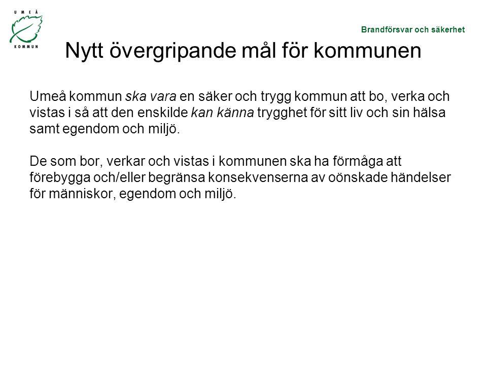 Brandförsvar och säkerhet Nytt övergripande mål för kommunen Umeå kommun ska vara en säker och trygg kommun att bo, verka och vistas i så att den enskilde kan känna trygghet för sitt liv och sin hälsa samt egendom och miljö.