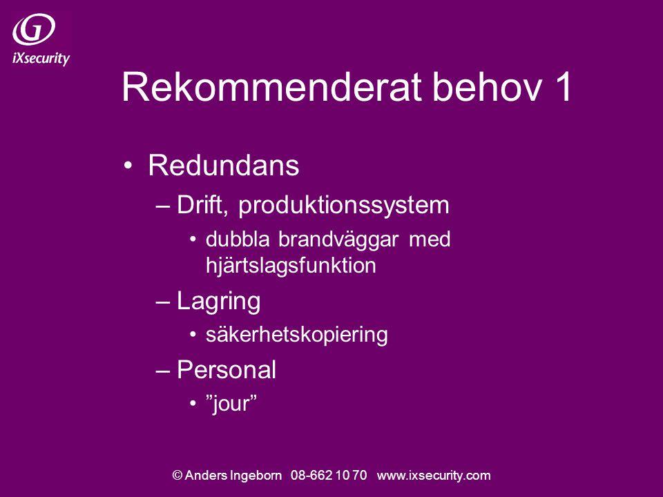 © Anders Ingeborn 08-662 10 70 www.ixsecurity.com Rekommenderat behov 1 Redundans –Drift, produktionssystem dubbla brandväggar med hjärtslagsfunktion