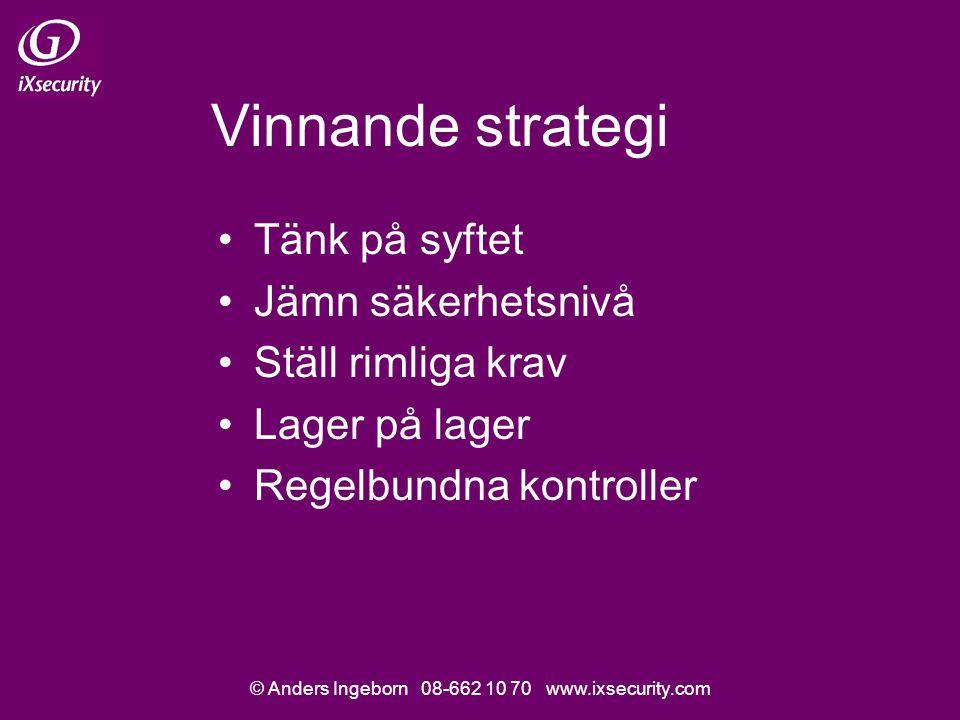 © Anders Ingeborn 08-662 10 70 www.ixsecurity.com Vinnande strategi Tänk på syftet Jämn säkerhetsnivå Ställ rimliga krav Lager på lager Regelbundna kontroller