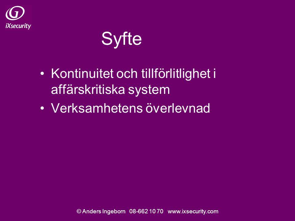 © Anders Ingeborn 08-662 10 70 www.ixsecurity.com Syfte Kontinuitet och tillförlitlighet i affärskritiska system Verksamhetens överlevnad