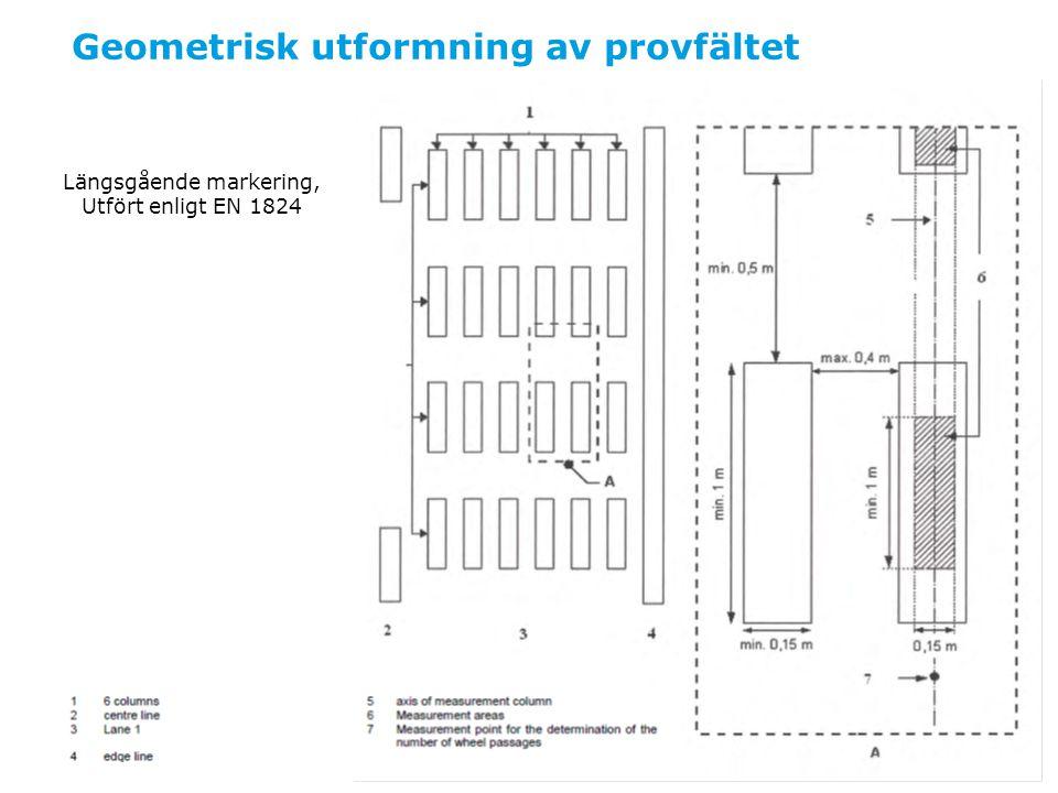 Utläggning Materialen ska läggas som 6 stolpar tvärs körfältets hela bredd Varje stolpe är 30 x 200cm * Mellanrummet mellan två intilliggande stolpar är 20cm * Mellanrummet mellan två stolprader är 200cm * Materialprov tas av alla material vid utläggning.