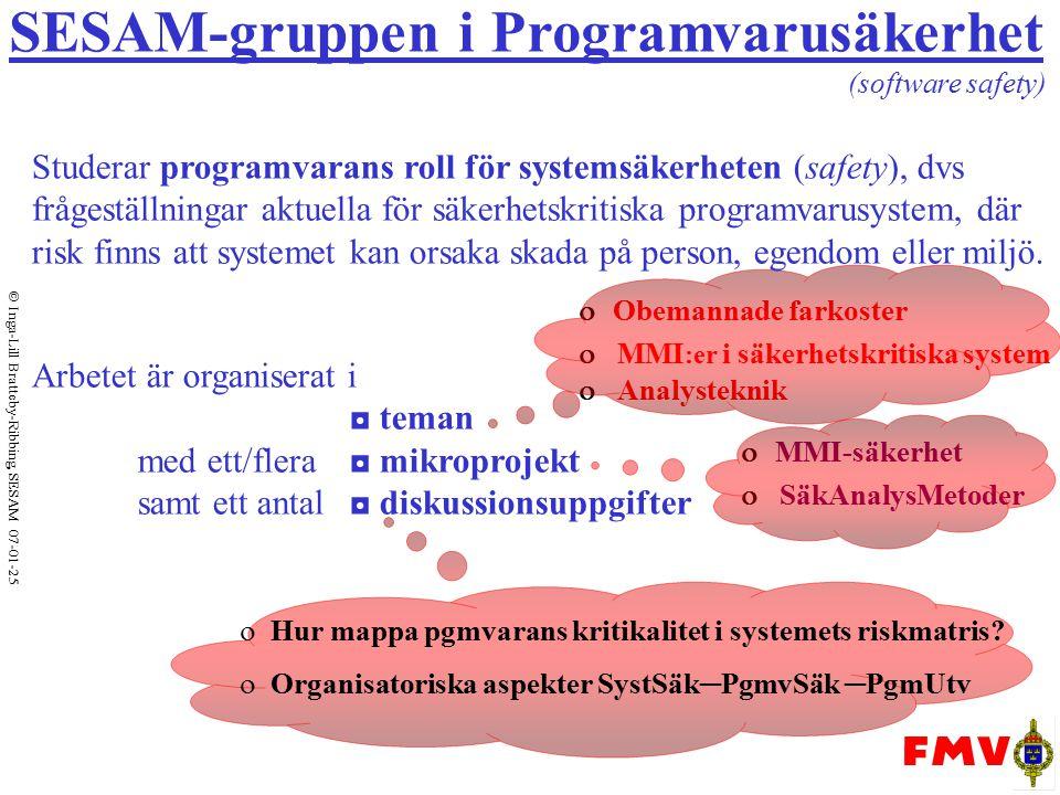 Inga-Lill Bratteby-Ribbing, SESAM 07-01-25 Mikroprojekt SäkAnalysMetoder Syfte: att utreda ◘ Vilka analysmetoder inom SystSäkområdet lämpar sig för pgmvarusystem.