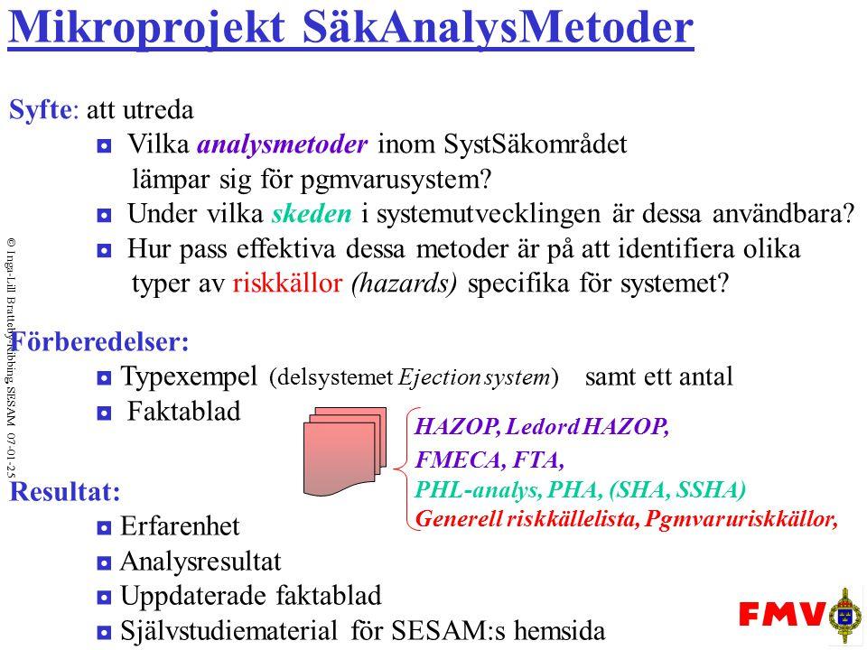  Inga-Lill Bratteby-Ribbing, SESAM 07-01-25 Mikroprojekt SäkAnalysMetoder Syfte: att utreda ◘ Vilka analysmetoder inom SystSäkområdet lämpar sig för