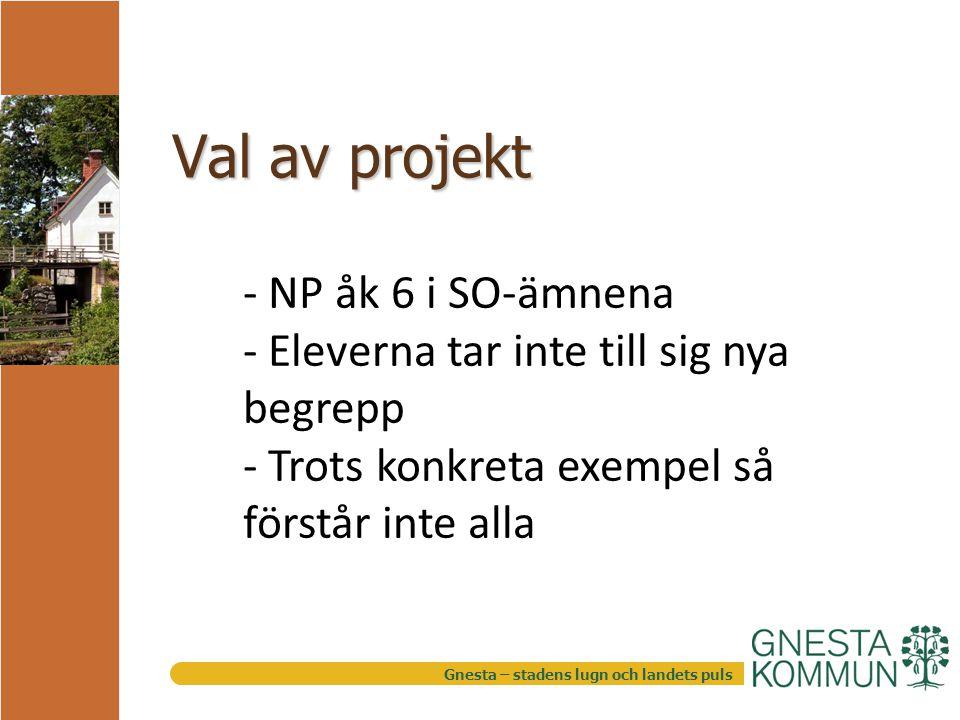 Gnesta – stadens lugn och landets puls Val av projekt - NP åk 6 i SO-ämnena - Eleverna tar inte till sig nya begrepp - Trots konkreta exempel så förstår inte alla