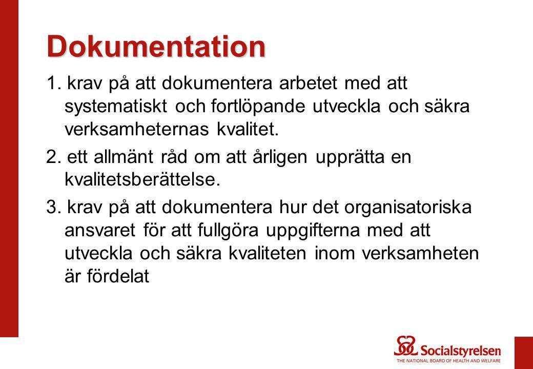 Dokumentation 1. krav på att dokumentera arbetet med att systematiskt och fortlöpande utveckla och säkra verksamheternas kvalitet. 2. ett allmänt råd