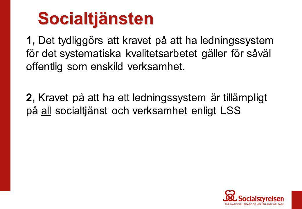 Socialtjänsten Socialtjänsten 1, Det tydliggörs att kravet på att ha ledningssystem för det systematiska kvalitetsarbetet gäller för såväl offentlig s