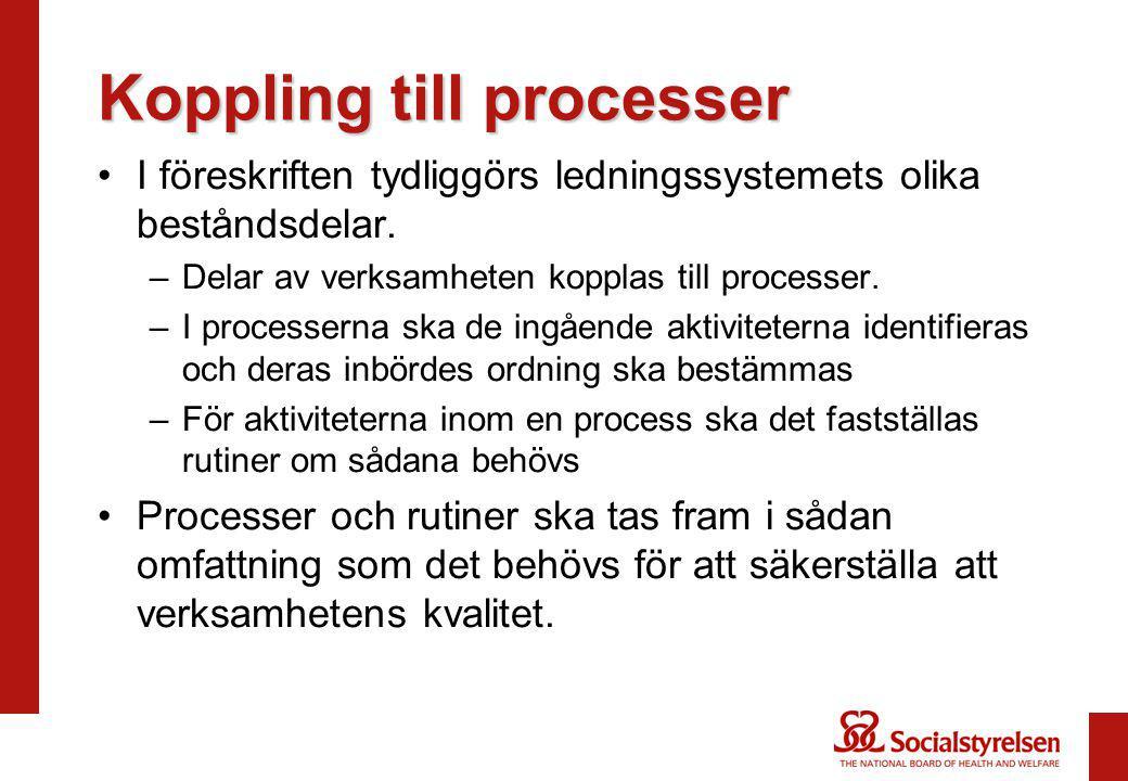 Koppling till processer I föreskriften tydliggörs ledningssystemets olika beståndsdelar. –Delar av verksamheten kopplas till processer. –I processerna