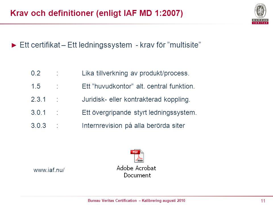 11 Bureau Veritas Certification – Kalibrering augusti 2010 Krav och definitioner (enligt IAF MD 1:2007) ► Ett certifikat – Ett ledningssystem - krav för multisite 0.2:Lika tillverkning av produkt/process.