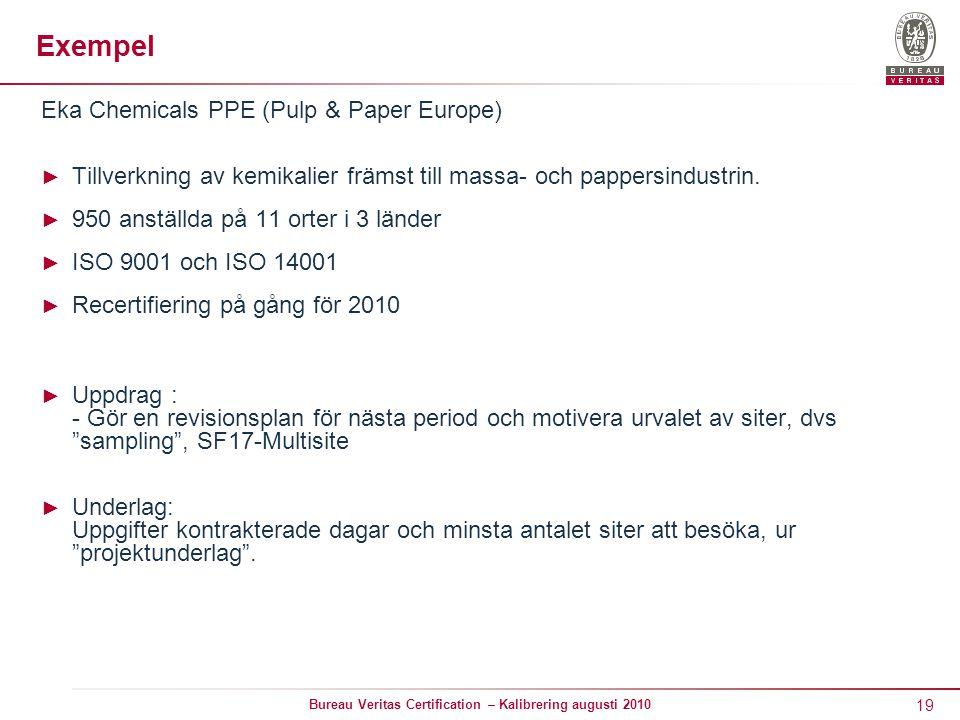 19 Bureau Veritas Certification – Kalibrering augusti 2010 Exempel Eka Chemicals PPE (Pulp & Paper Europe) ► Tillverkning av kemikalier främst till massa- och pappersindustrin.
