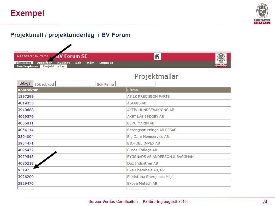 24 Bureau Veritas Certification – Kalibrering augusti 2010 Exempel Projektmall / projektunderlag i BV Forum
