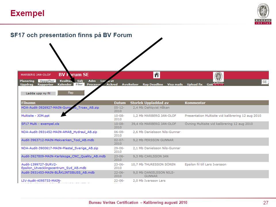 27 Bureau Veritas Certification – Kalibrering augusti 2010 Exempel SF17 och presentation finns på BV Forum