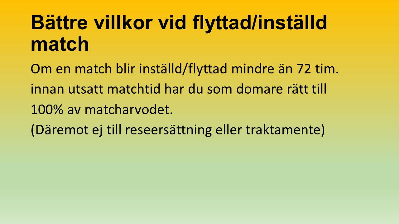 Bättre villkor vid flyttad/inställd match Om en match blir inställd/flyttad mindre än 72 tim.