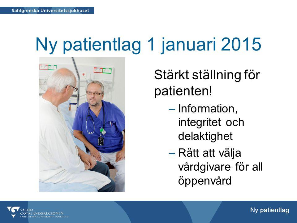 Ny patientlag 1 januari 2015 Stärkt ställning för patienten.