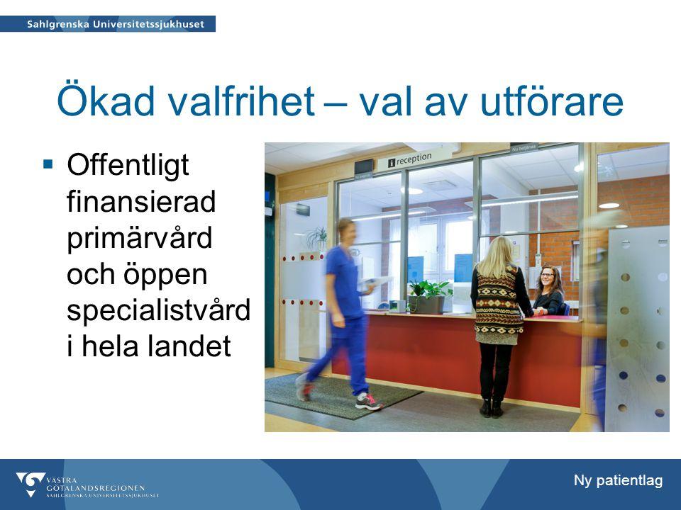 Ökad valfrihet – val av utförare  Offentligt finansierad primärvård och öppen specialistvård i hela landet Ny patientlag
