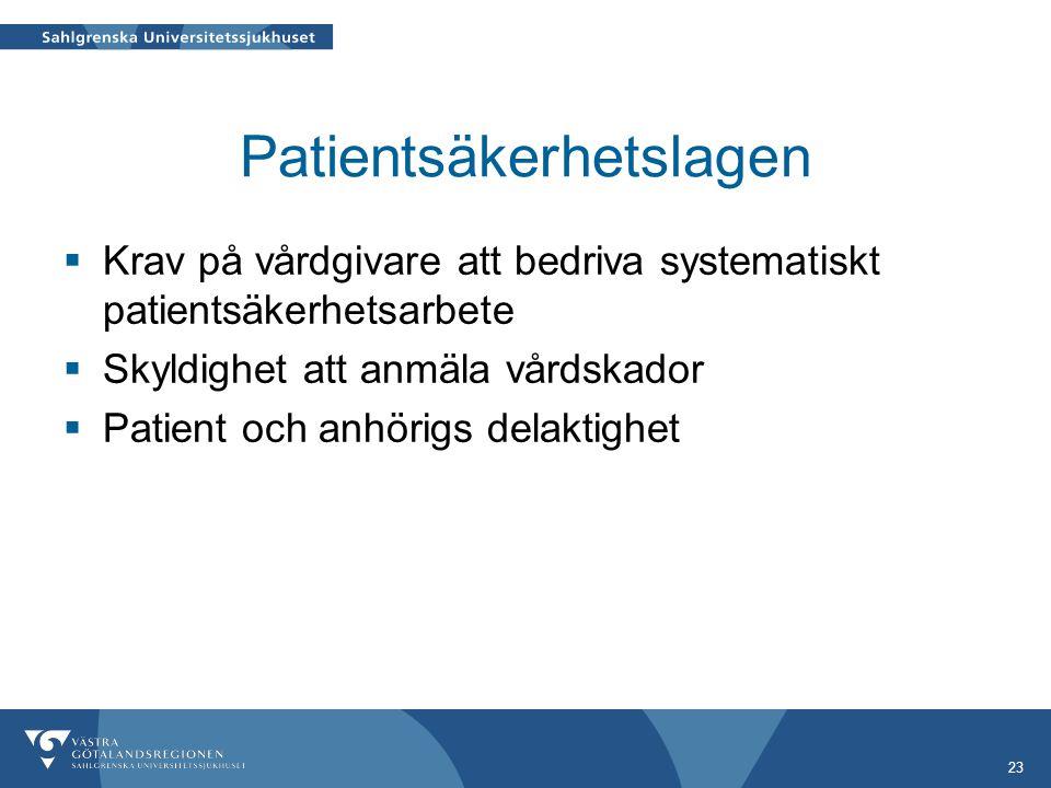 Patientsäkerhetslagen  Krav på vårdgivare att bedriva systematiskt patientsäkerhetsarbete  Skyldighet att anmäla vårdskador  Patient och anhörigs delaktighet 23