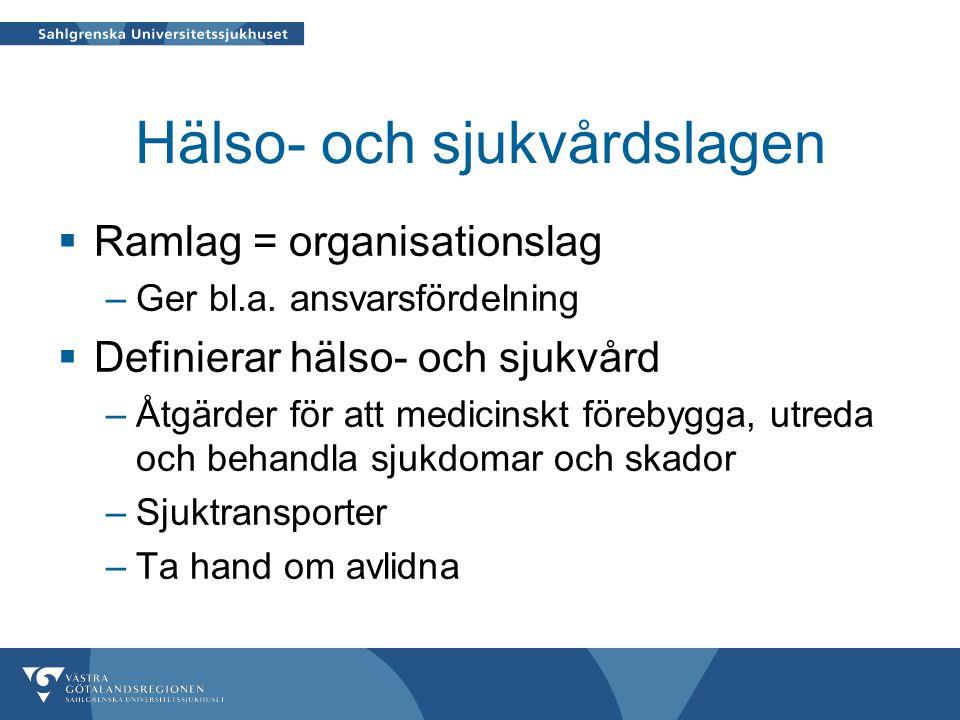 Hälso- och sjukvårdslagen  Ramlag = organisationslag –Ger bl.a.