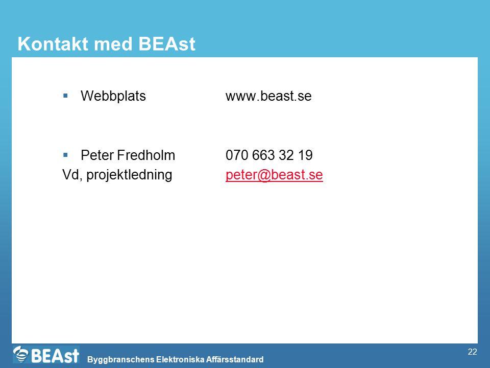 Byggbranschens Elektroniska Affärsstandard 22 Kontakt med BEAst  Webbplats www.beast.se  Peter Fredholm070 663 32 19 Vd, projektledningpeter@beast.s