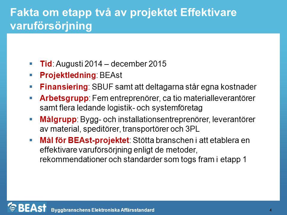 Byggbranschens Elektroniska Affärsstandard Fakta om etapp två av projektet Effektivare varuförsörjning 4  Tid: Augusti 2014 – december 2015  Projekt