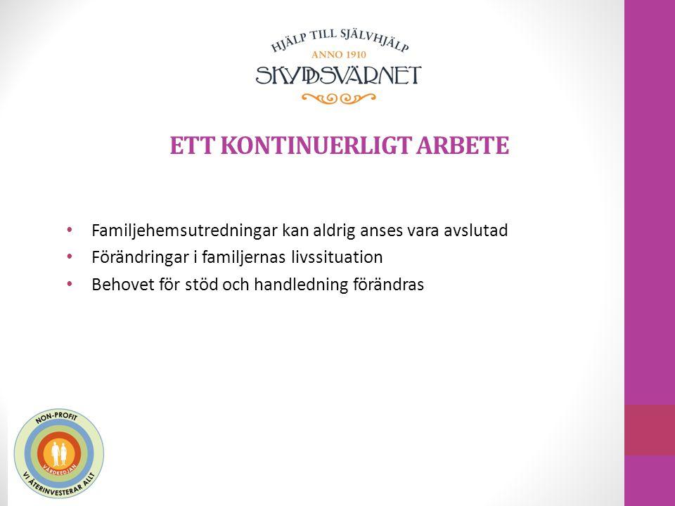 ETT KONTINUERLIGT ARBETE Familjehemsutredningar kan aldrig anses vara avslutad Förändringar i familjernas livssituation Behovet för stöd och handledni