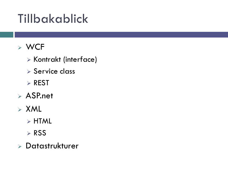 Tillbakablick  WCF  Kontrakt (interface)  Service class  REST  ASP.net  XML  HTML  RSS  Datastrukturer