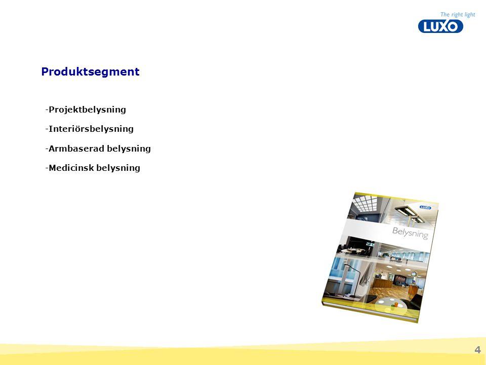 4 -Projektbelysning -Interiörsbelysning -Armbaserad belysning -Medicinsk belysning Produktsegment