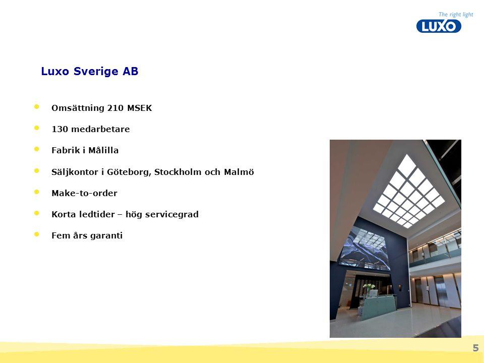 5 Luxo Sverige AB Omsättning 210 MSEK 130 medarbetare Fabrik i Målilla Säljkontor i Göteborg, Stockholm och Malmö Make-to-order Korta ledtider – hög s