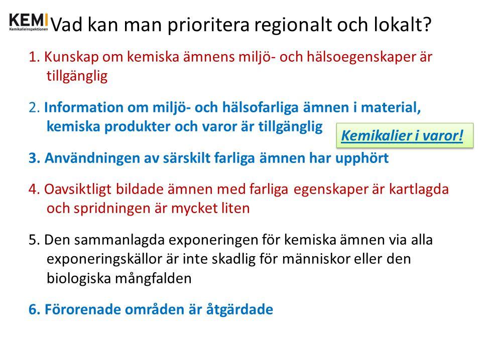 Vad kan man prioritera regionalt och lokalt? 1. Kunskap om kemiska ämnens miljö- och hälsoegenskaper är tillgänglig 2. Information om miljö- och hälso