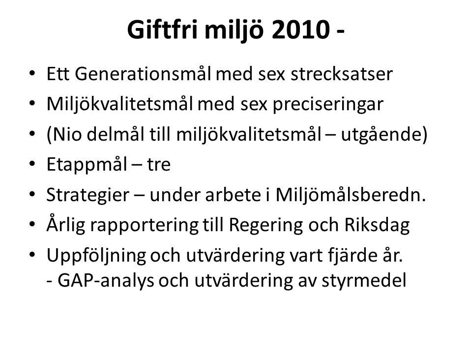Giftfri miljö 2010 - Ett Generationsmål med sex strecksatser Miljökvalitetsmål med sex preciseringar (Nio delmål till miljökvalitetsmål – utgående) Et
