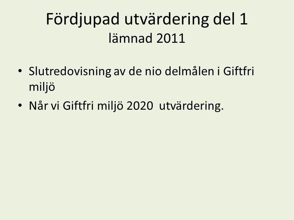 Fördjupad utvärdering del 1 lämnad 2011 Slutredovisning av de nio delmålen i Giftfri miljö Når vi Giftfri miljö 2020 utvärdering.