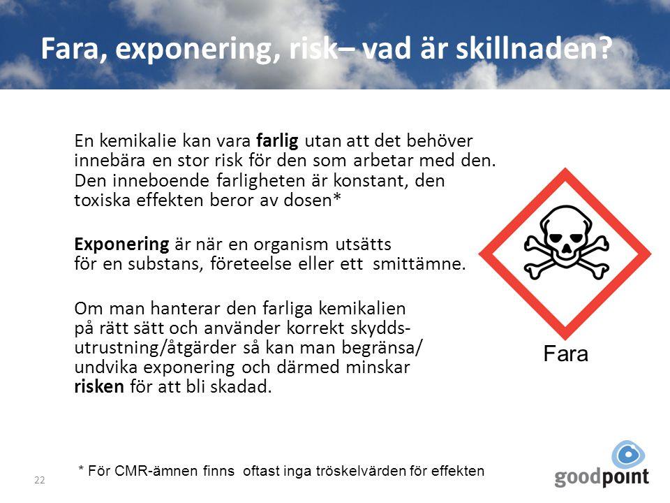 Fara, exponering, risk– vad är skillnaden? En kemikalie kan vara farlig utan att det behöver innebära en stor risk för den som arbetar med den. Den in