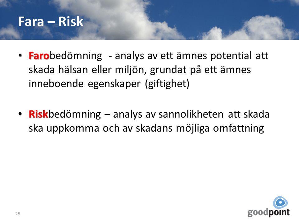 Fara – Risk Faro Farobedömning - analys av ett ämnes potential att skada hälsan eller miljön, grundat på ett ämnes inneboende egenskaper (giftighet) R