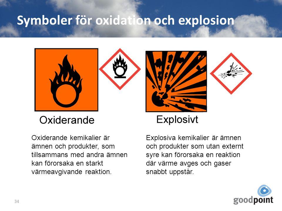 Symboler för oxidation och explosion 34 Oxiderande kemikalier är ämnen och produkter, som tillsammans med andra ämnen kan förorsaka en starkt värmeavg