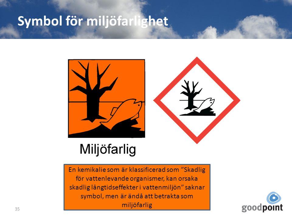 """Symbol för miljöfarlighet 35 En kemikalie som är klassificerad som """"Skadlig för vattenlevande organismer, kan orsaka skadlig långtidseffekter i vatten"""