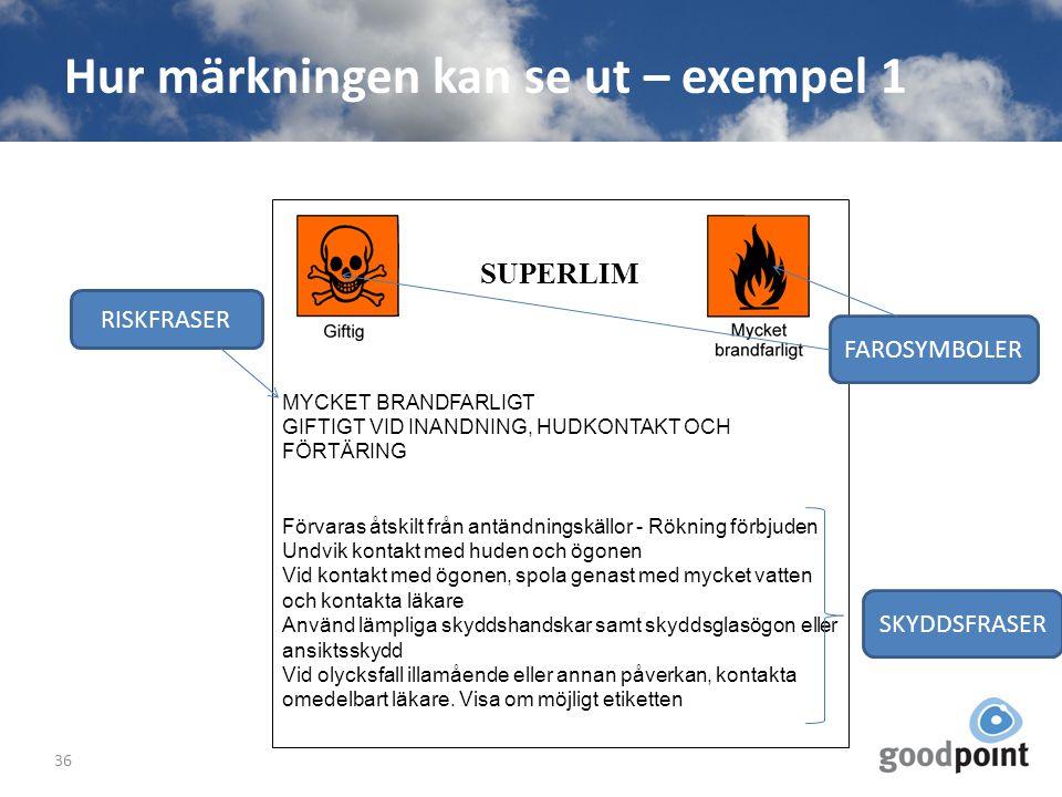Hur märkningen kan se ut – exempel 1 36 SUPERLIM MYCKET BRANDFARLIGT GIFTIGT VID INANDNING, HUDKONTAKT OCH FÖRTÄRING Förvaras åtskilt från antändnings