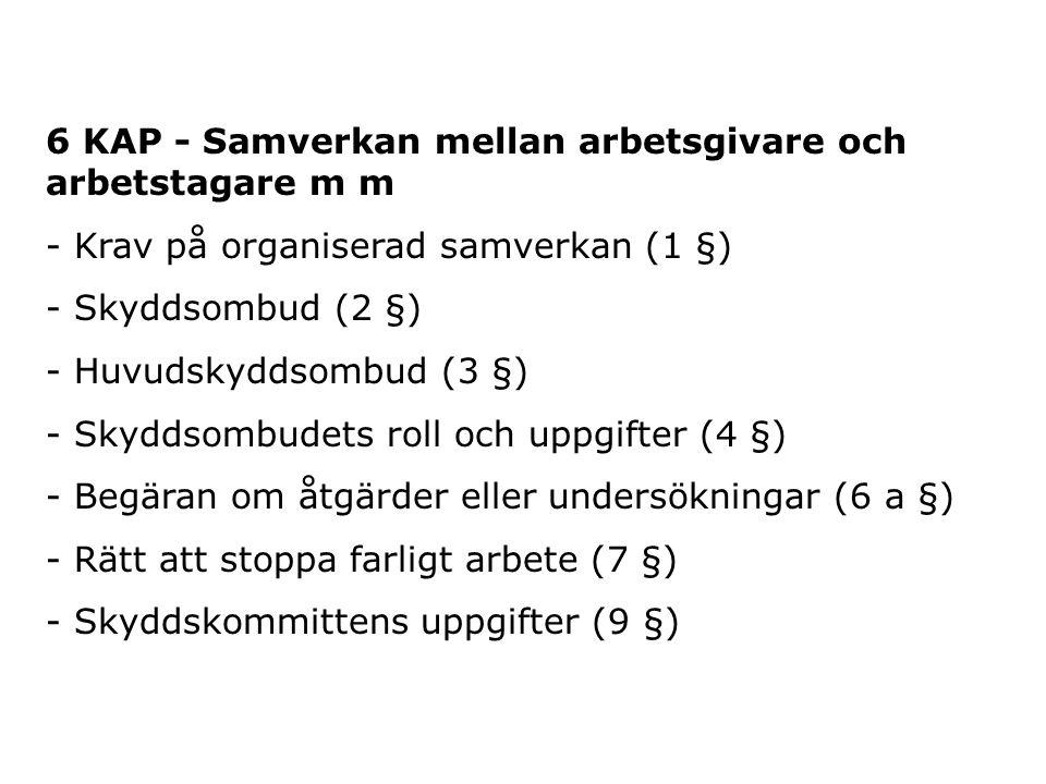 6 KAP - Samverkan mellan arbetsgivare och arbetstagare m m - Krav på organiserad samverkan (1 §) - Skyddsombud (2 §) - Huvudskyddsombud (3 §) - Skydds