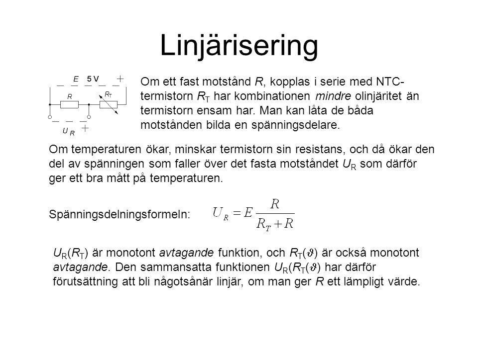 Linjärisering Om ett fast motstånd R, kopplas i serie med NTC- termistorn R T har kombinationen mindre olinjäritet än termistorn ensam har. Man kan lå