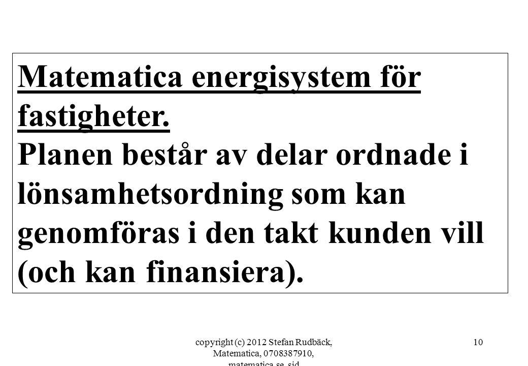 copyright (c) 2012 Stefan Rudbäck, Matematica, 0708387910, matematica.se, sid 10 Matematica energisystem för fastigheter. Planen består av delar ordna