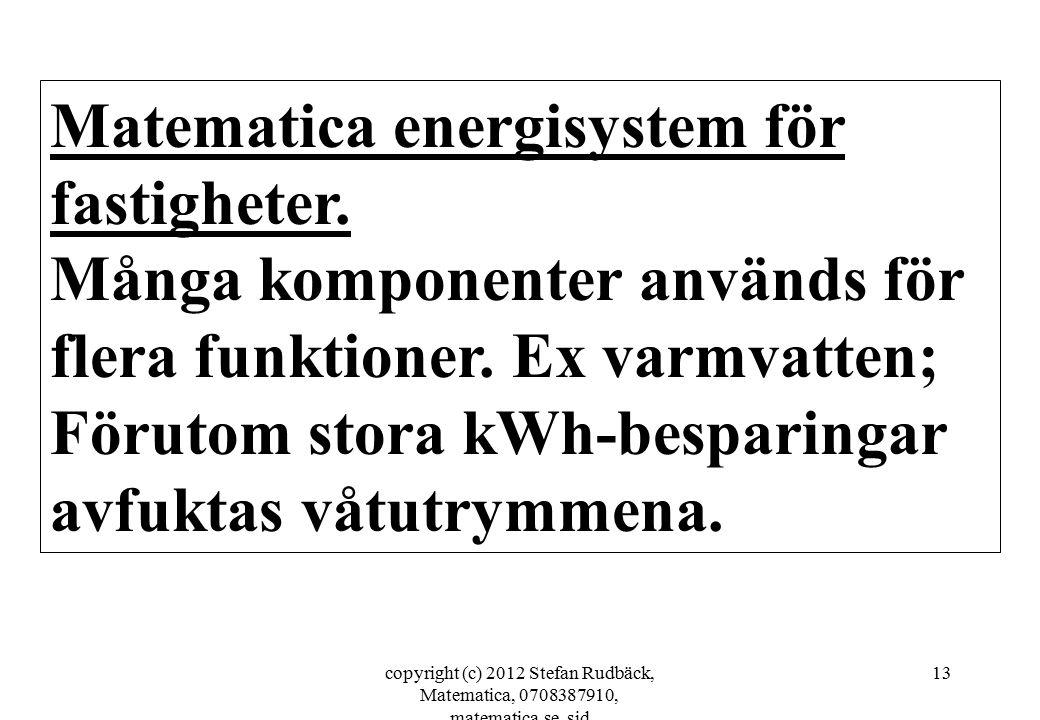 copyright (c) 2012 Stefan Rudbäck, Matematica, 0708387910, matematica.se, sid 13 Matematica energisystem för fastigheter. Många komponenter används fö