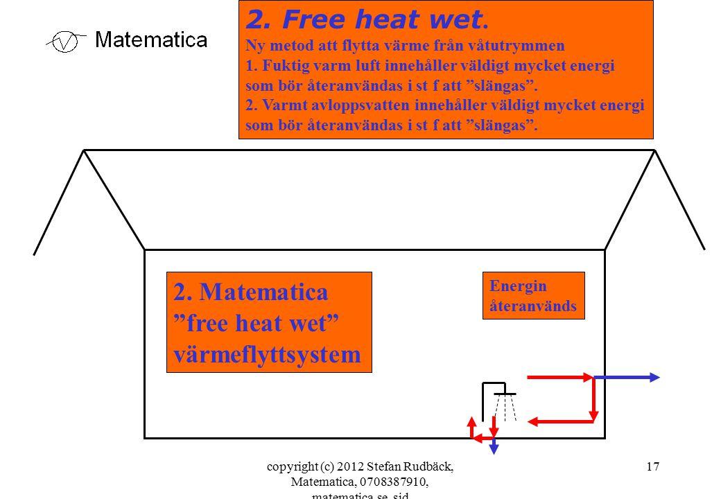 copyright (c) 2012 Stefan Rudbäck, Matematica, 0708387910, matematica.se, sid 17 2. Free heat wet. Ny metod att flytta värme från våtutrymmen 1. Fukti