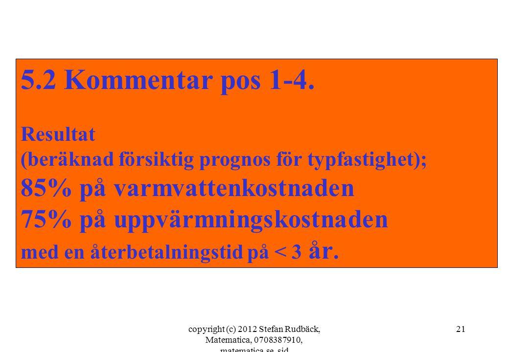 copyright (c) 2012 Stefan Rudbäck, Matematica, 0708387910, matematica.se, sid 21 5.2 Kommentar pos 1-4. Resultat (beräknad försiktig prognos för typfa