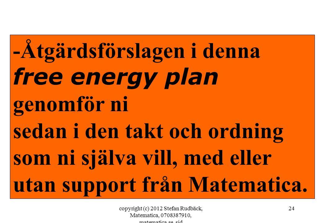copyright (c) 2012 Stefan Rudbäck, Matematica, 0708387910, matematica.se, sid 24 -Åtgärdsförslagen i denna free energy plan genomför ni sedan i den takt och ordning som ni själva vill, med eller utan support från Matematica.