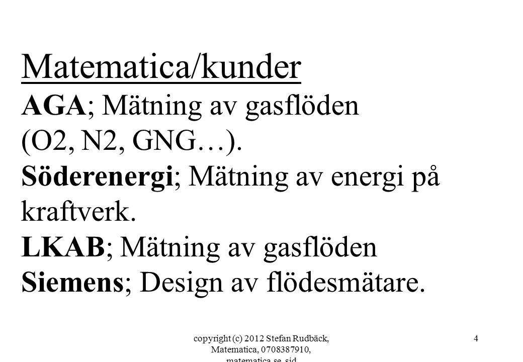 copyright (c) 2012 Stefan Rudbäck, Matematica, 0708387910, matematica.se, sid 25 Referenser; -Martin Welin Berger, AGA, 08-7311619 -Pertti Lappinlampi, Söderenergi 08-55305544 -Axel Boden, Swerea Mefos, xxxxxx -Niklas Högsten, Högsbohöjds tennisklubb 0709969670 Var god kontakta mig om ni vill kontakta ngn ref.