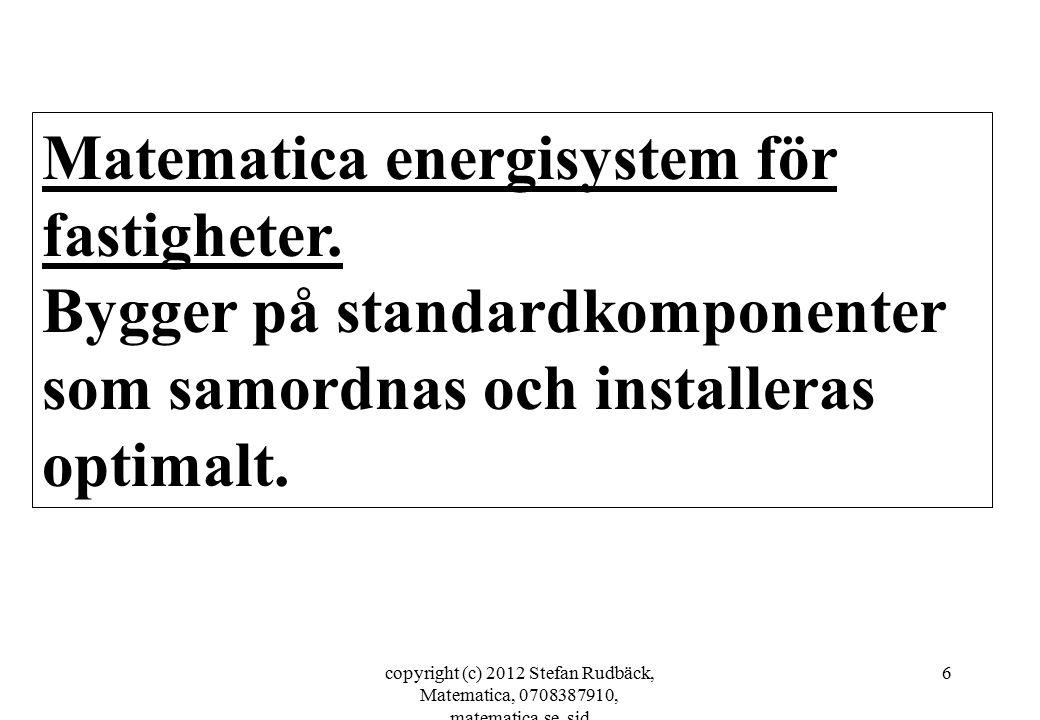 copyright (c) 2012 Stefan Rudbäck, Matematica, 0708387910, matematica.se, sid 6 Matematica energisystem för fastigheter. Bygger på standardkomponenter