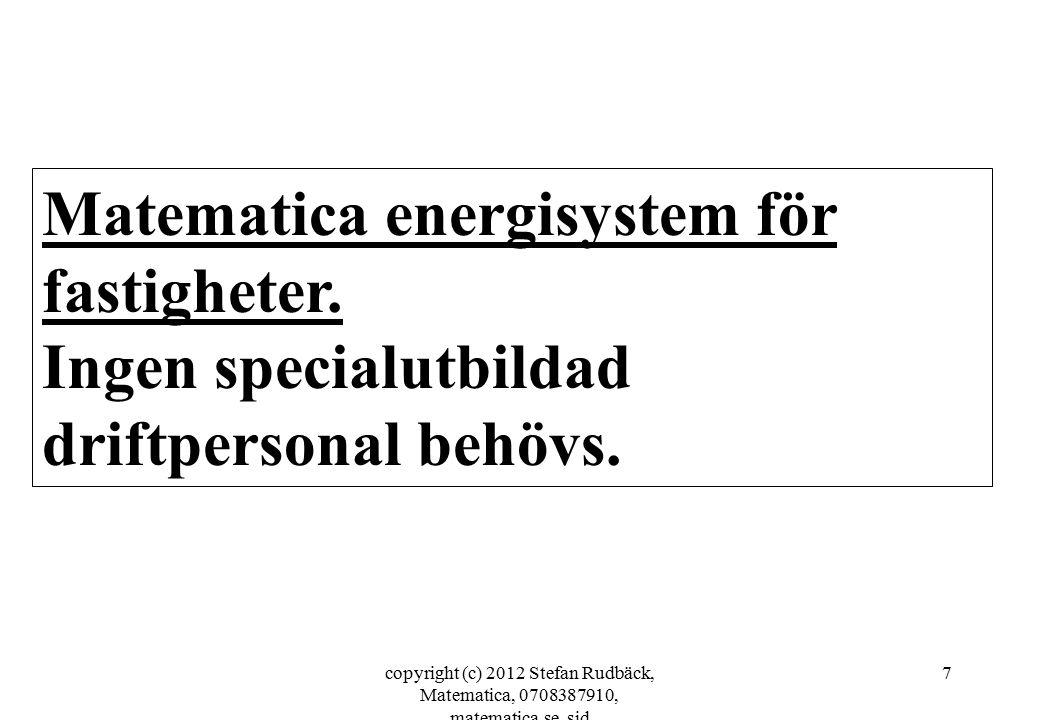 copyright (c) 2012 Stefan Rudbäck, Matematica, 0708387910, matematica.se, sid 7 Matematica energisystem för fastigheter. Ingen specialutbildad driftpe