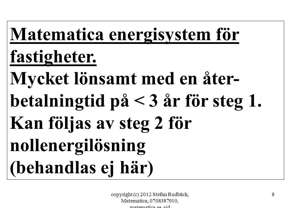 copyright (c) 2012 Stefan Rudbäck, Matematica, 0708387910, matematica.se, sid 8 Matematica energisystem för fastigheter. Mycket lönsamt med en åter- b