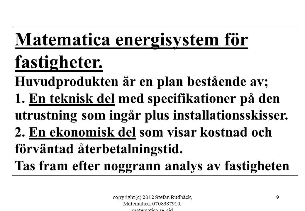 copyright (c) 2012 Stefan Rudbäck, Matematica, 0708387910, matematica.se, sid 9 Matematica energisystem för fastigheter. Huvudprodukten är en plan bes